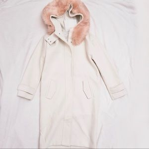 White wool thick coat with pink faux fur